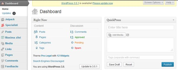 update wordpress 3.5.1