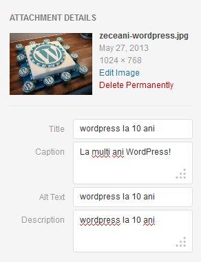 SEO imagini wordpress