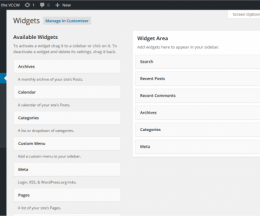 Widgeturile (piesele) implicit instalate pe WordPress